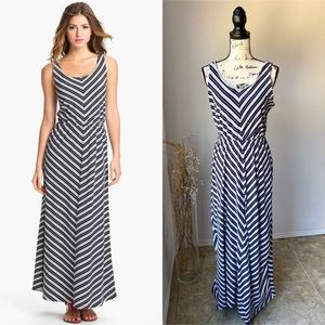 Olive & Oak Blue Striped Chevron Maxi Dress L EUC